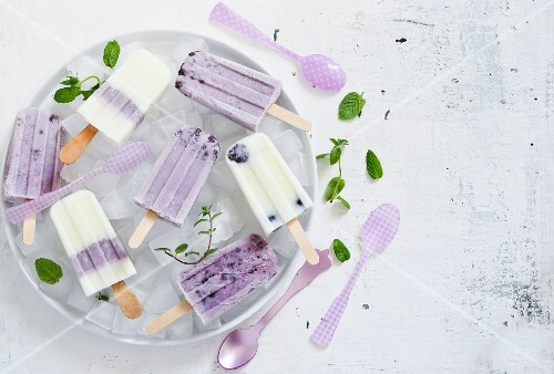 Homemade blueberry ice cream sticks