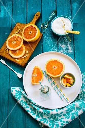 An arrangement of grapefruits