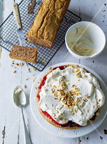 ADHD food: nut cake with cream and a nut loaf cake