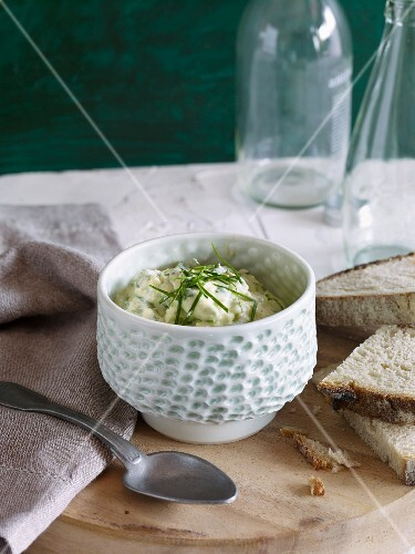 Wild garlic Obatzter (Bavarian cheese spread)