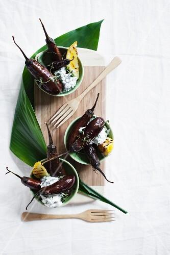 Aubergines with rocket cream