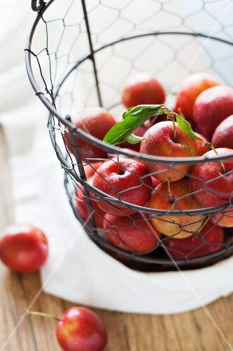 Red plums in a wire basket above a wooden table with a white cloth