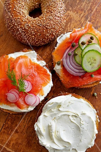 Sesame bagels with cream cheese smoked salmon