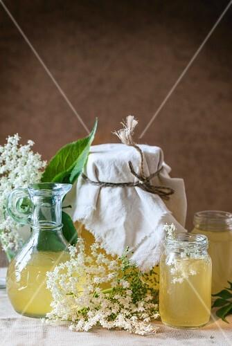 Jars of elderflower syrup
