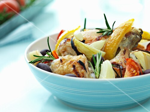 Summer barbecue salad with grilled chicken and vegetables
