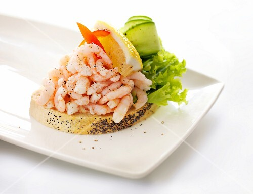An open shrimp sandwich