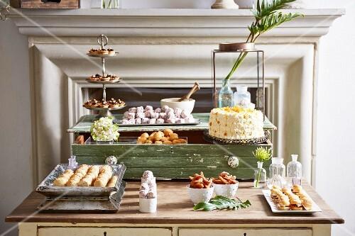 Various canapés and cakes