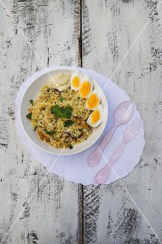Kedgeree with smoked mackerel, mustard cream and eggs