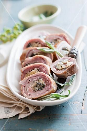 Sliced pork roulade