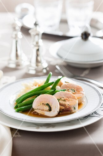 Chicken roulade filled with ham and sage