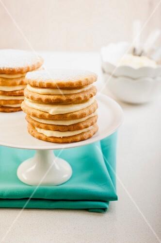 Shortbread towers with granadilla cream