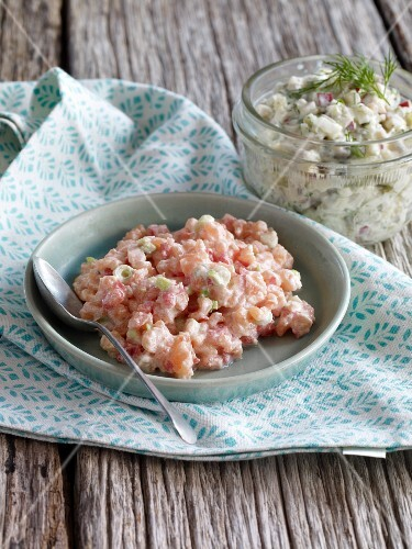 Salmon tartar and soused herring tartar with apple