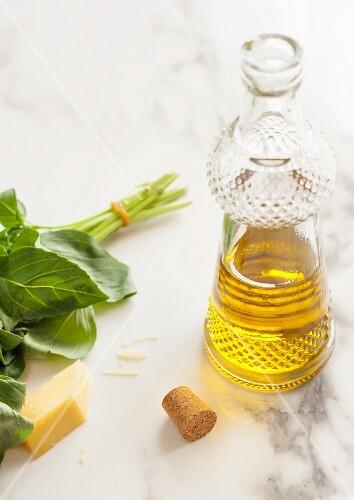 Mediterranean ingredients - olive oil, cheese and basil