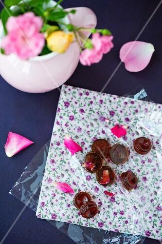 Homemade rose-flavoured bonbons