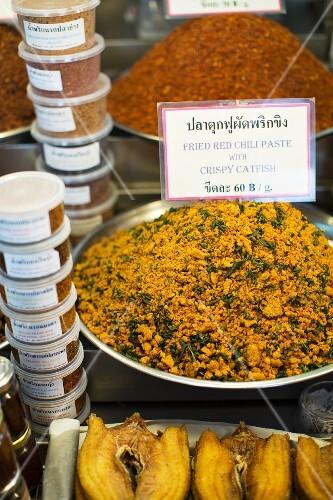 Nam Prik of crispy catfish at a market (Thailand)