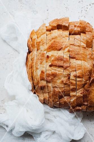 Rustic bread, sliced