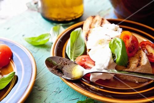 Bruschetta with tomatoes, mozzarella, basil, olive oil and balsamic vinegar