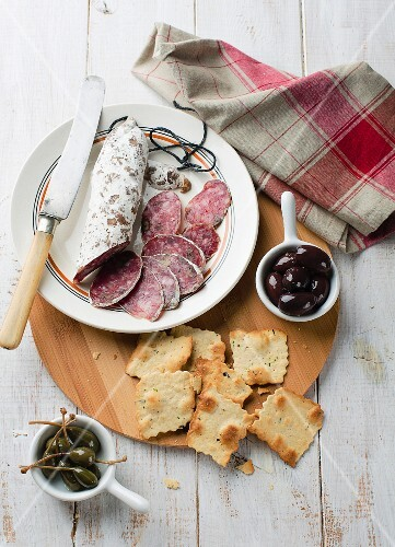 Salami, olives, crackers and capers