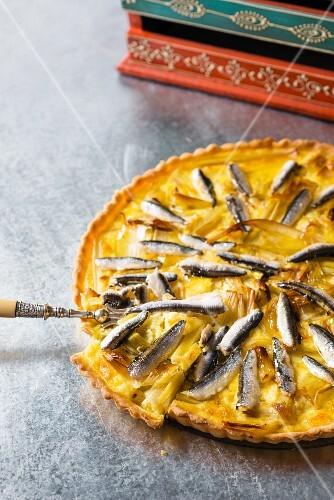 Leek tart with anchovies