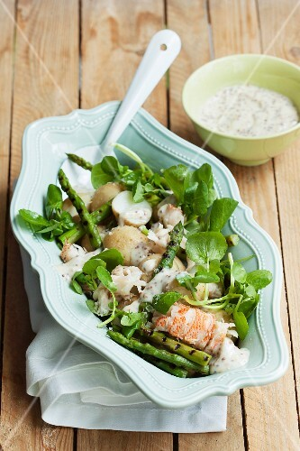 Potato salad with grilled asparagus and lobster
