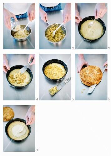 Bienenstich (caramelised almond cake) being made