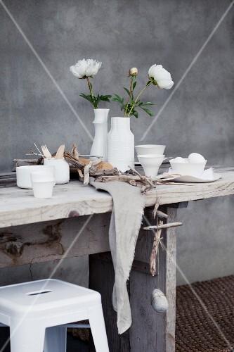 Table, vase, peonies