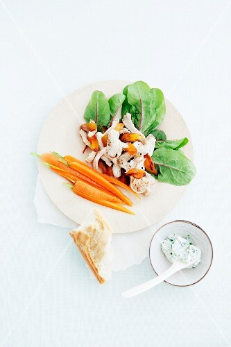 Chicken salad with roasted apricots and carrots