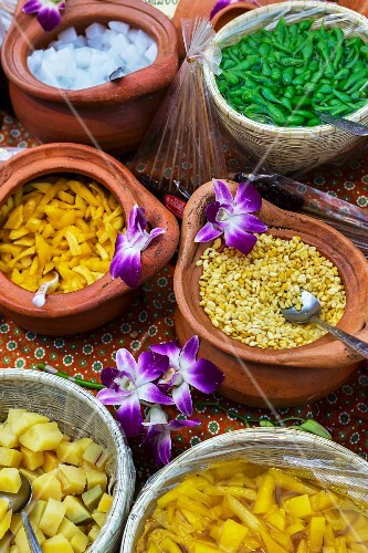 Various desserts in bowls and baskets, Bangkok