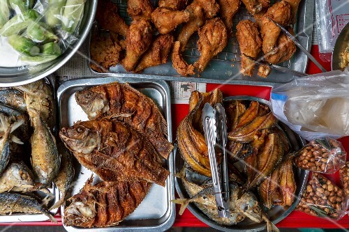 Fried fish and chicken bits, Thailand