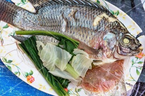 Steamed fish with vegetables, Bangkok