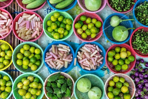 Bowls of vegetables at a market in Bangkok