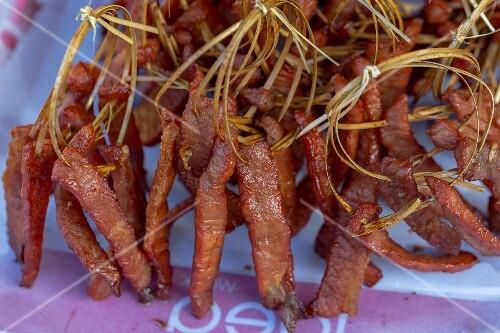 Dried pork at a market (Vientiane, Laos)