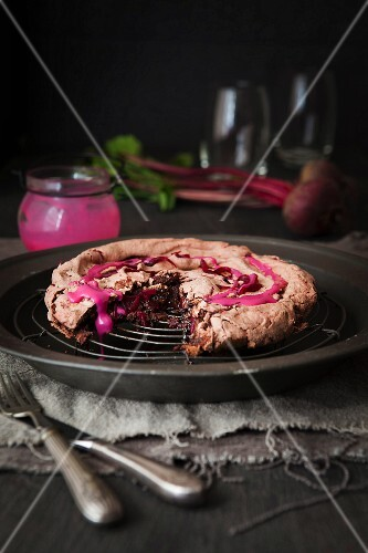 Beetroot and chocolate meringue cake