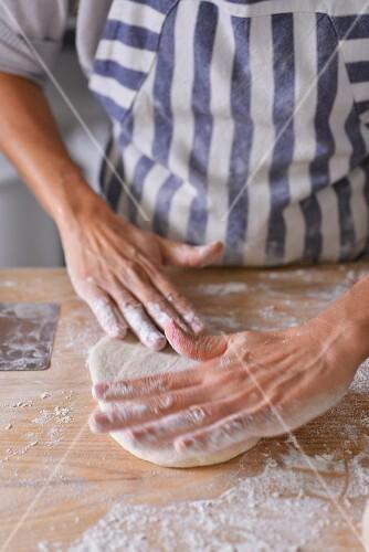 Unleavened bread being made