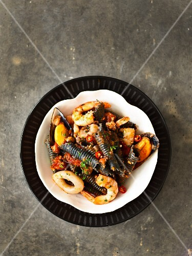 Squid garganelli with seafood and chilli