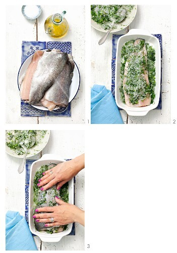 Trout fillet in herb salt being made