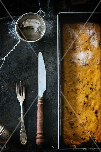 Carrot cake in baking tin