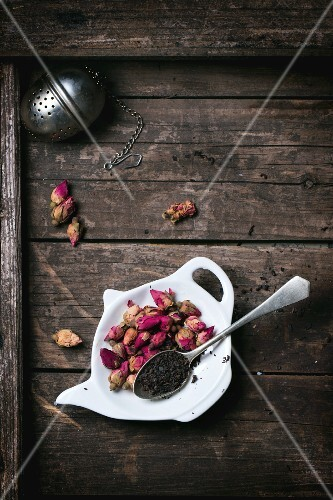 Black tea and tea rosebuds