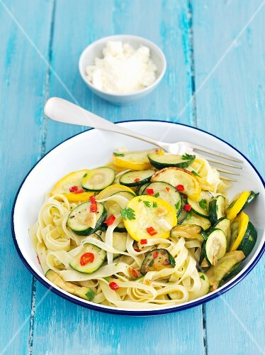 Tagliatelle with courgettes, chilli peppers and parsley
