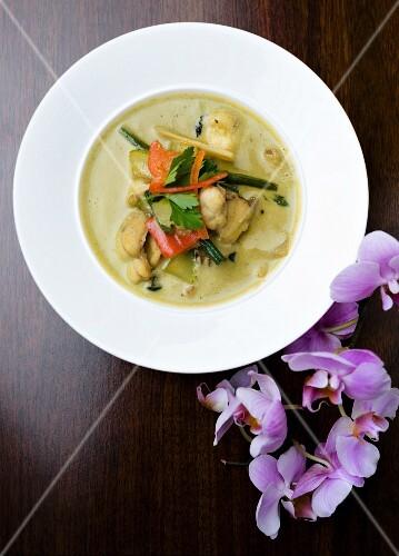 Tom Ka Gai soup with seafood (Thailand)