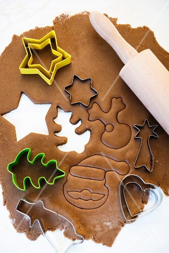 Gingerbread dough with cutters
