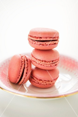 Strawberry macaroons on a plate