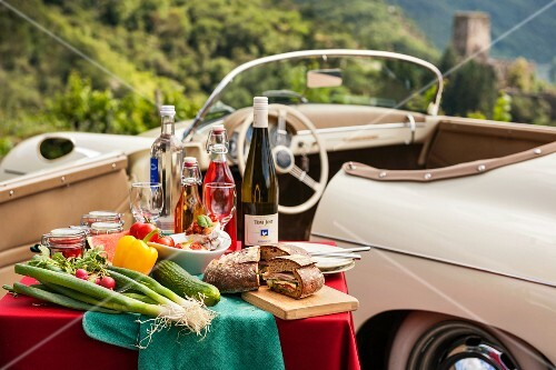 A picnic with a classic car