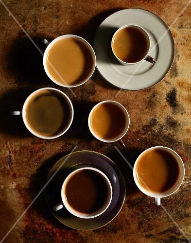 Coffee in assorted mugs