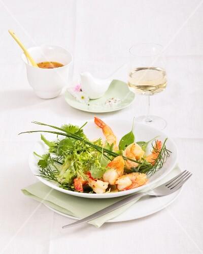 Herb salad with prawns