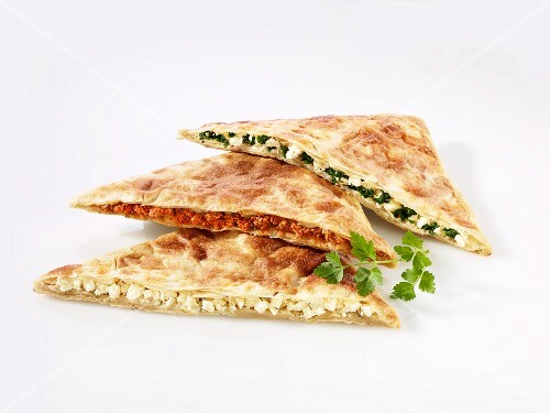 Various different pide (stuffed pastry parcels, Turkey)