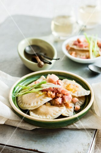 Polish ravioli with diced ham and onions