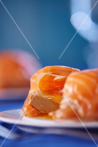 Boiled eggs wrapped in smoked salmon (Norway)