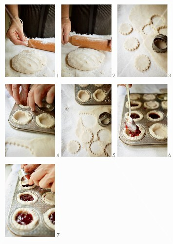Mini yeast dough pies being made