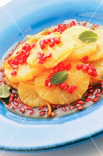 Orange salad with pomegranate seeds and mint